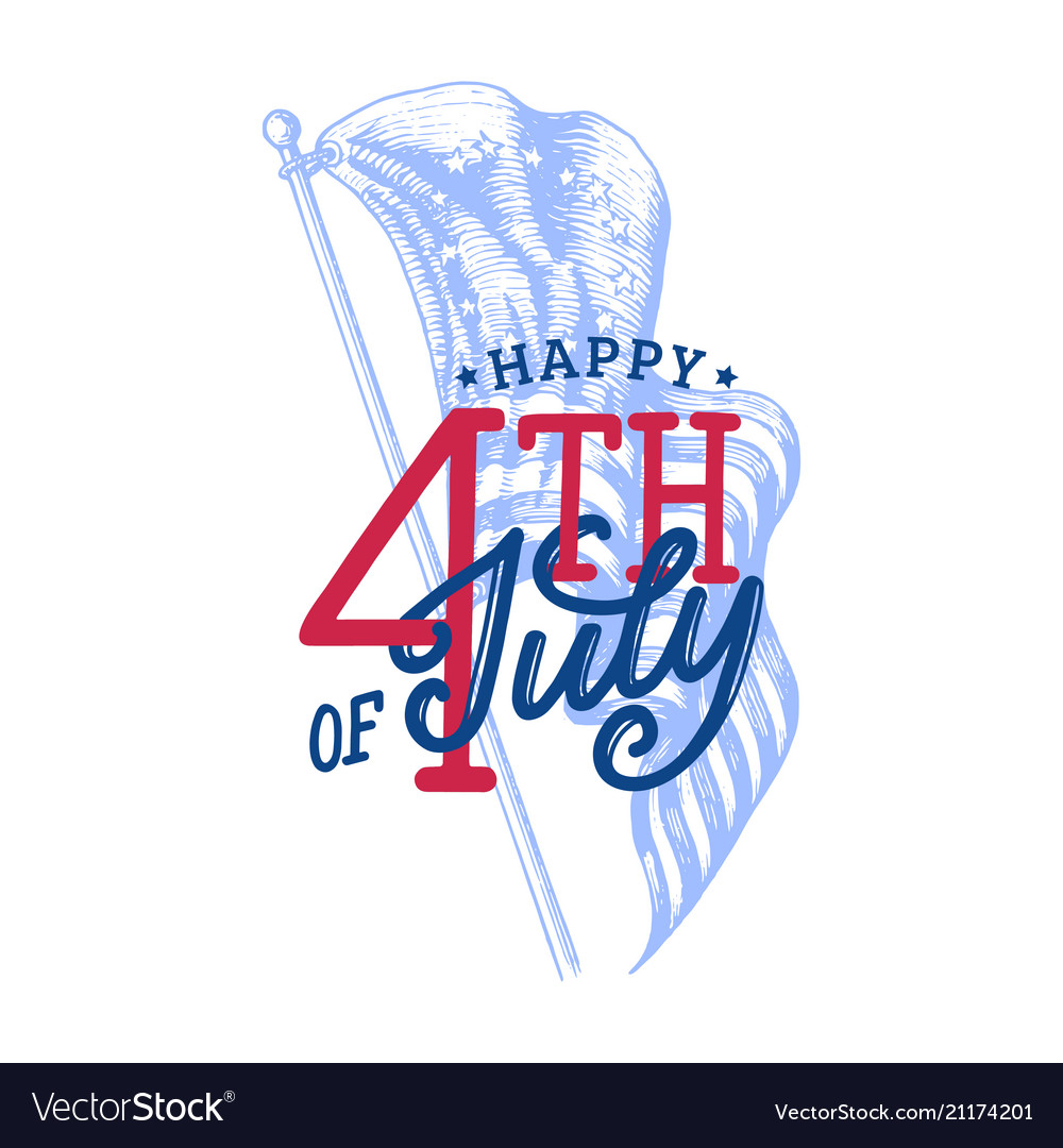 Happy fourth july hand lettering