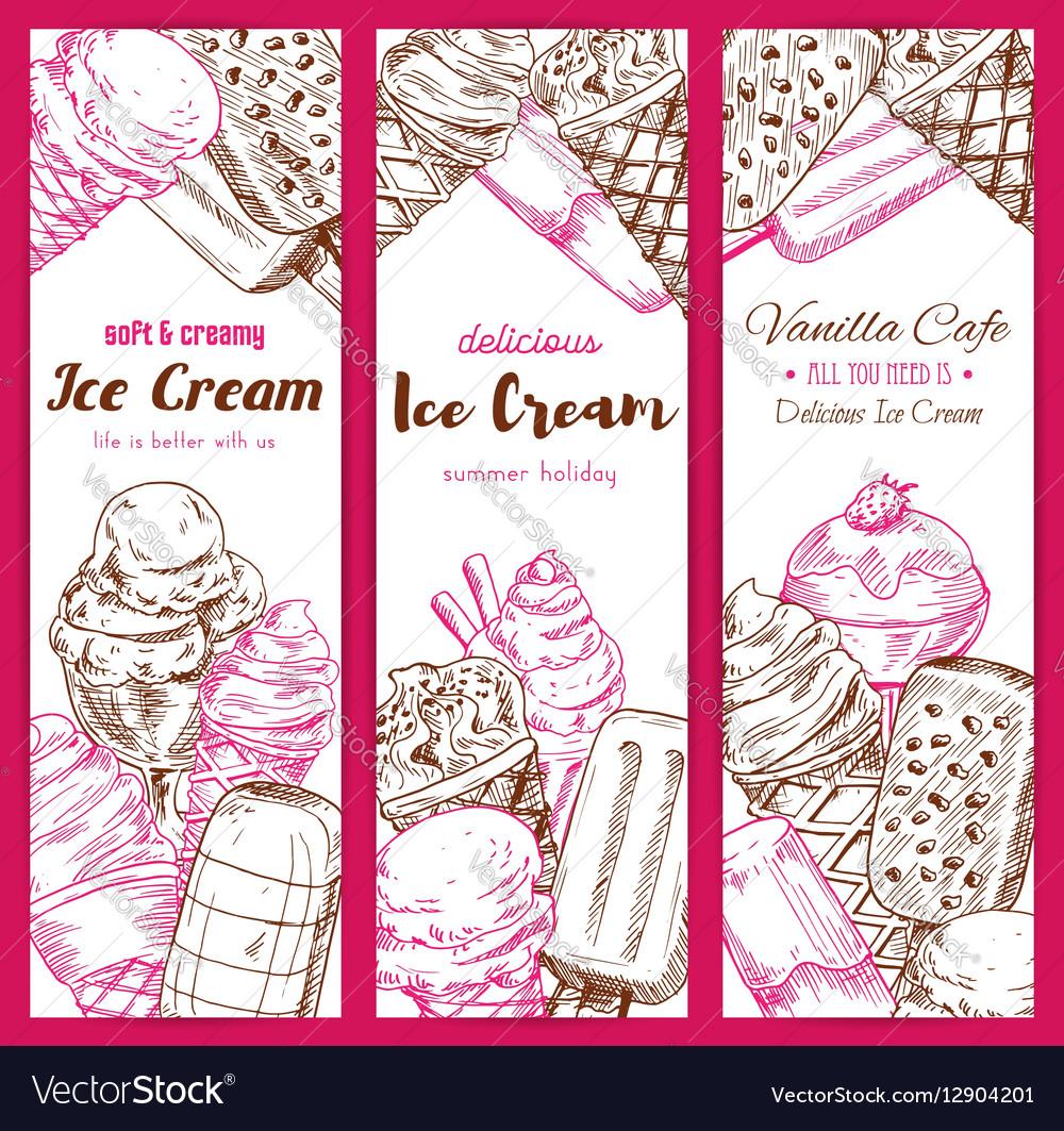 Ice cream frozen desserts banners sketch vector image