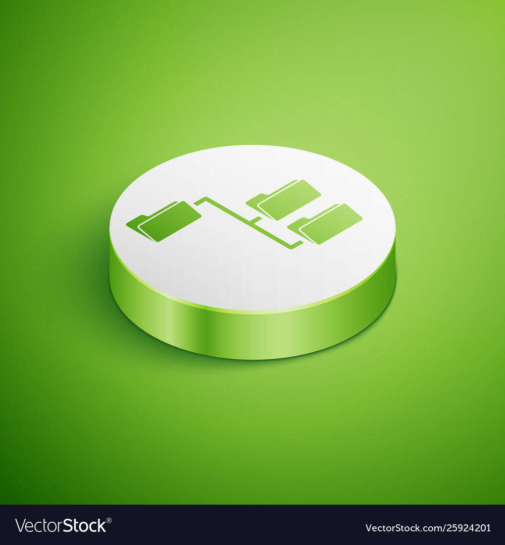 Isometric folder tree icon isolated on green