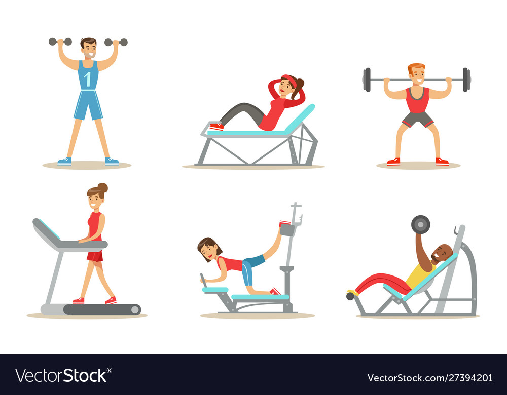 People exercising in gym with equipment Royalty Free Vector