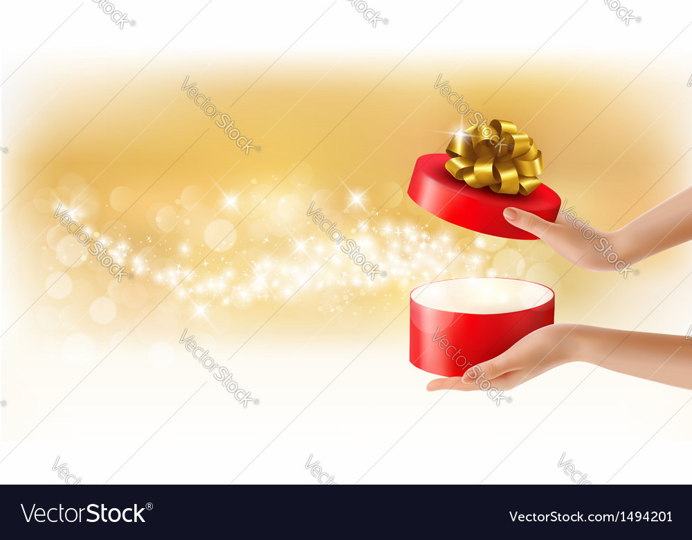 Red gift box background vector image