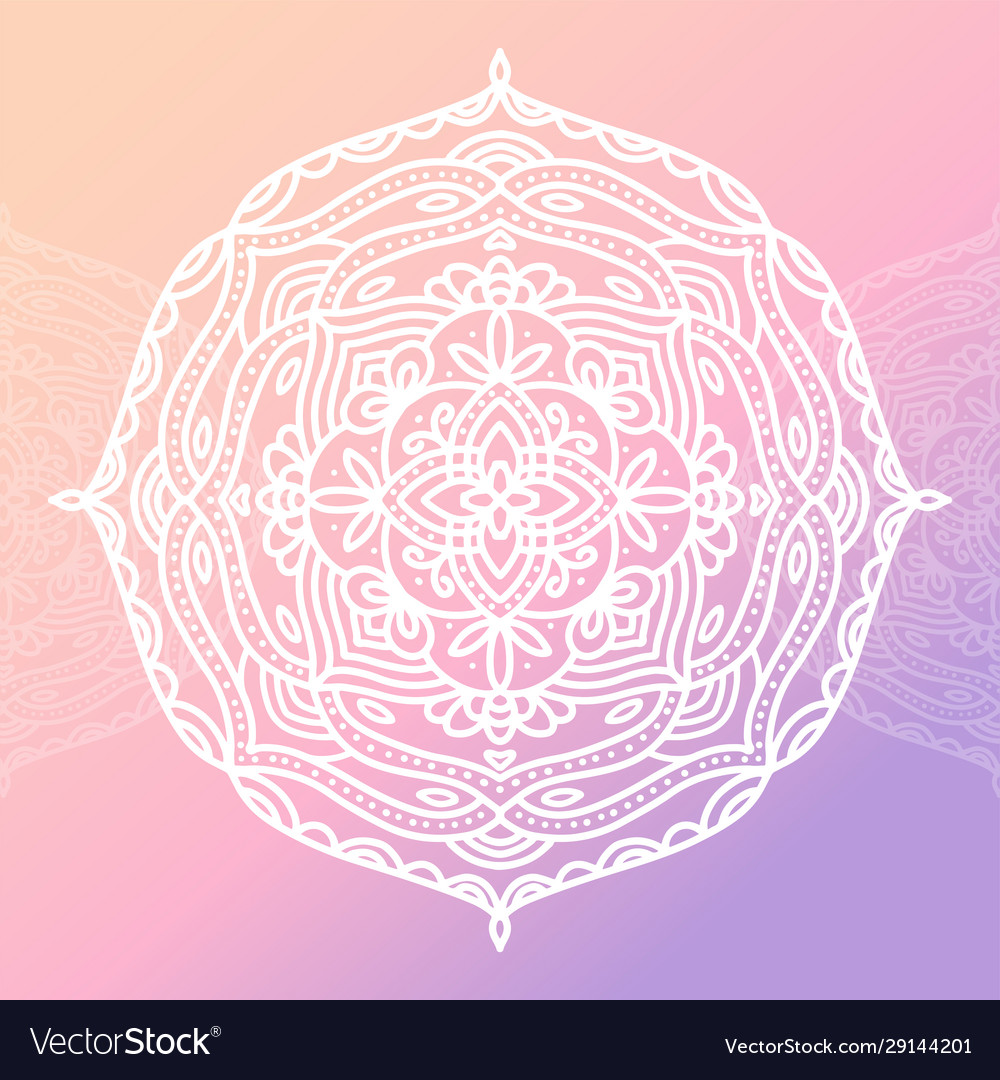 Round white mandala on gradient pink isolated