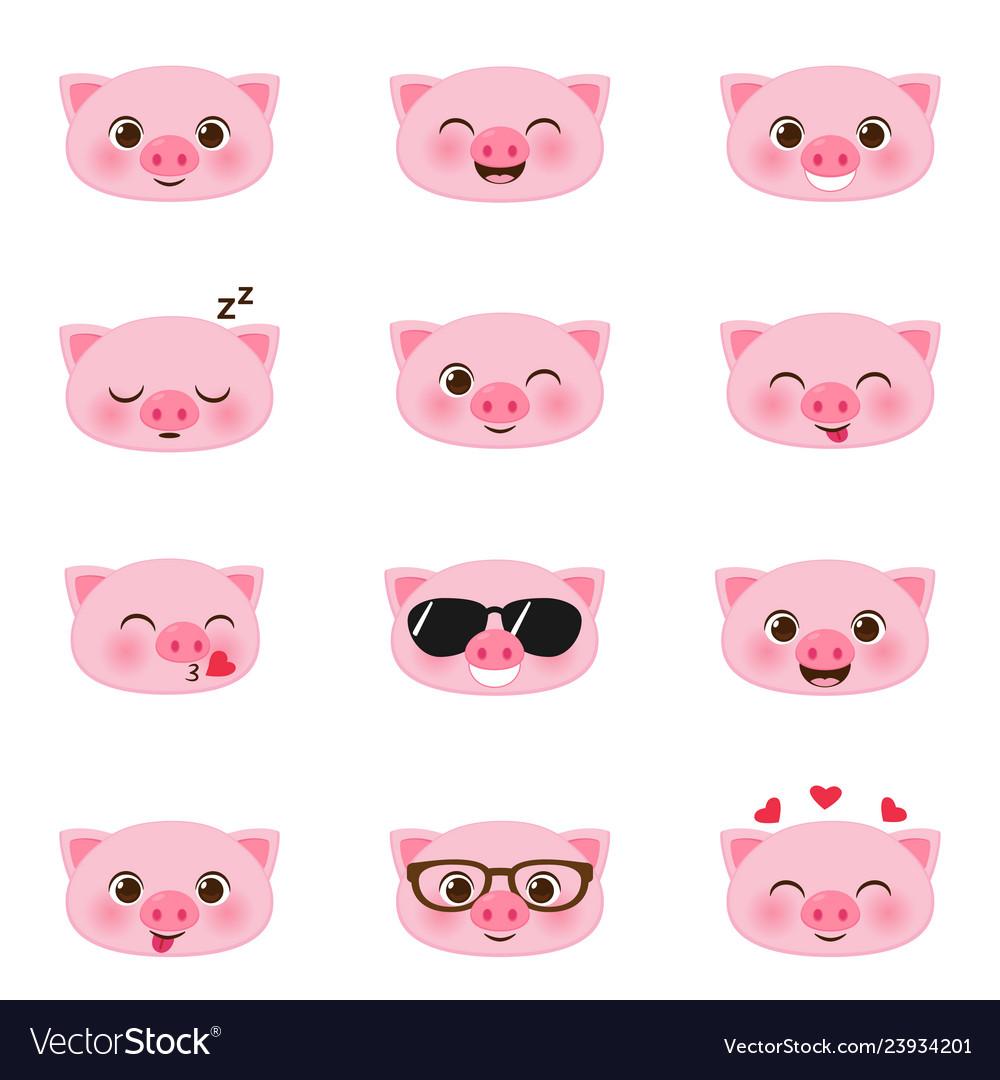 Set of happy pigs emojis