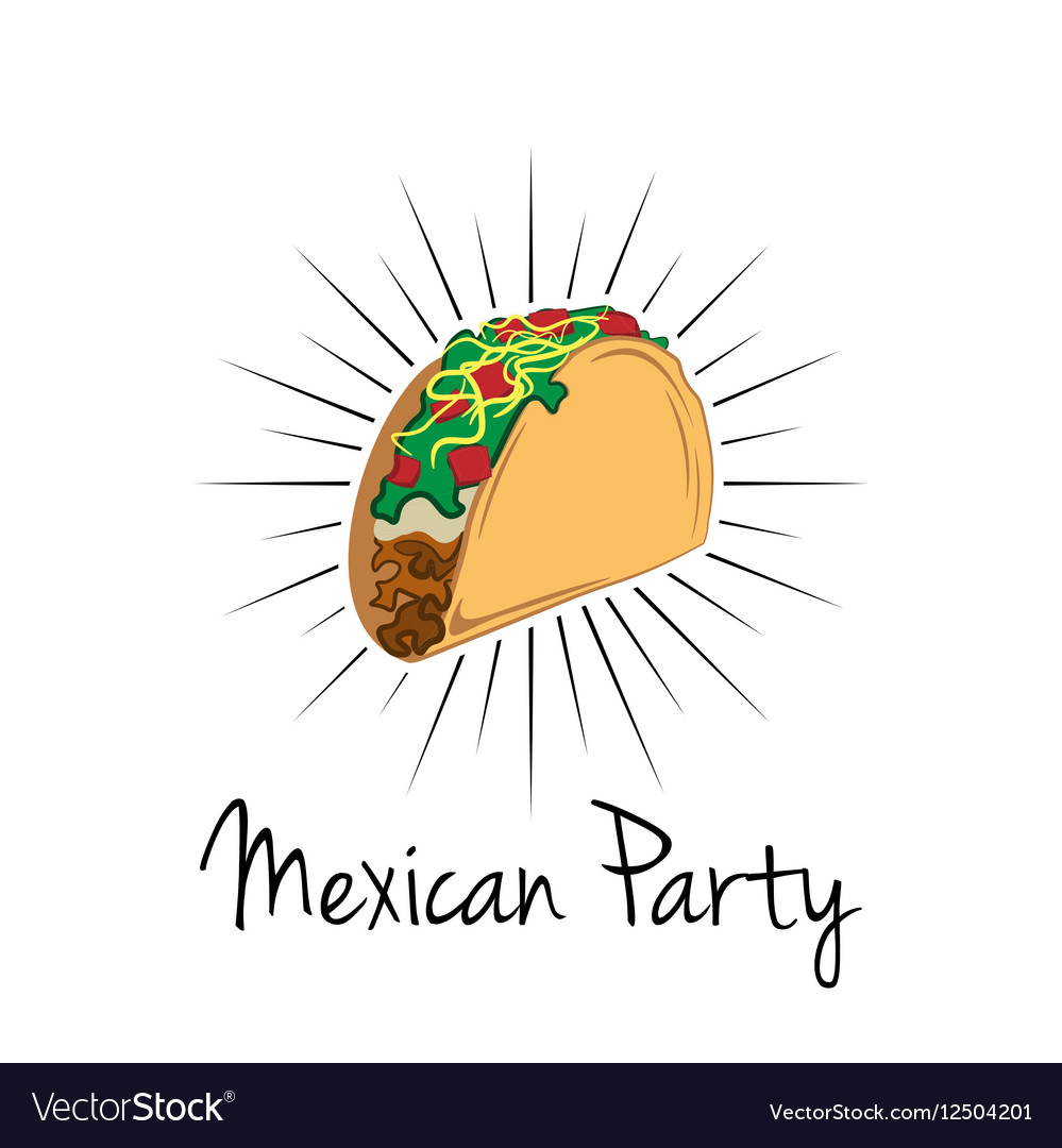 Taco on white background isolated Mexico Food