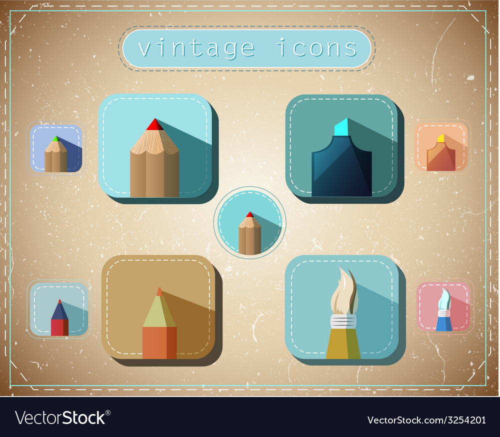 Vintage icons set vector image