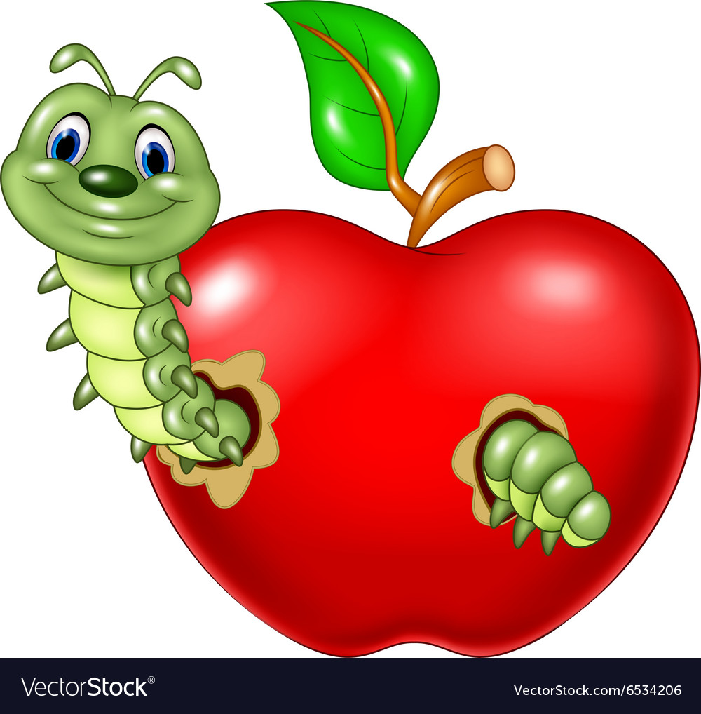 Cartoon Caterpillars Eat The Red Apple Royalty Free Vector