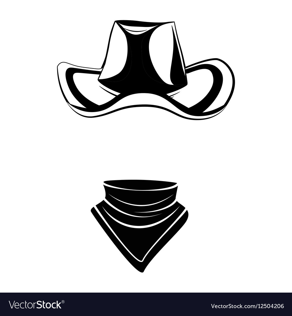 Cowboy hat and scarf Wild west Western element vector image