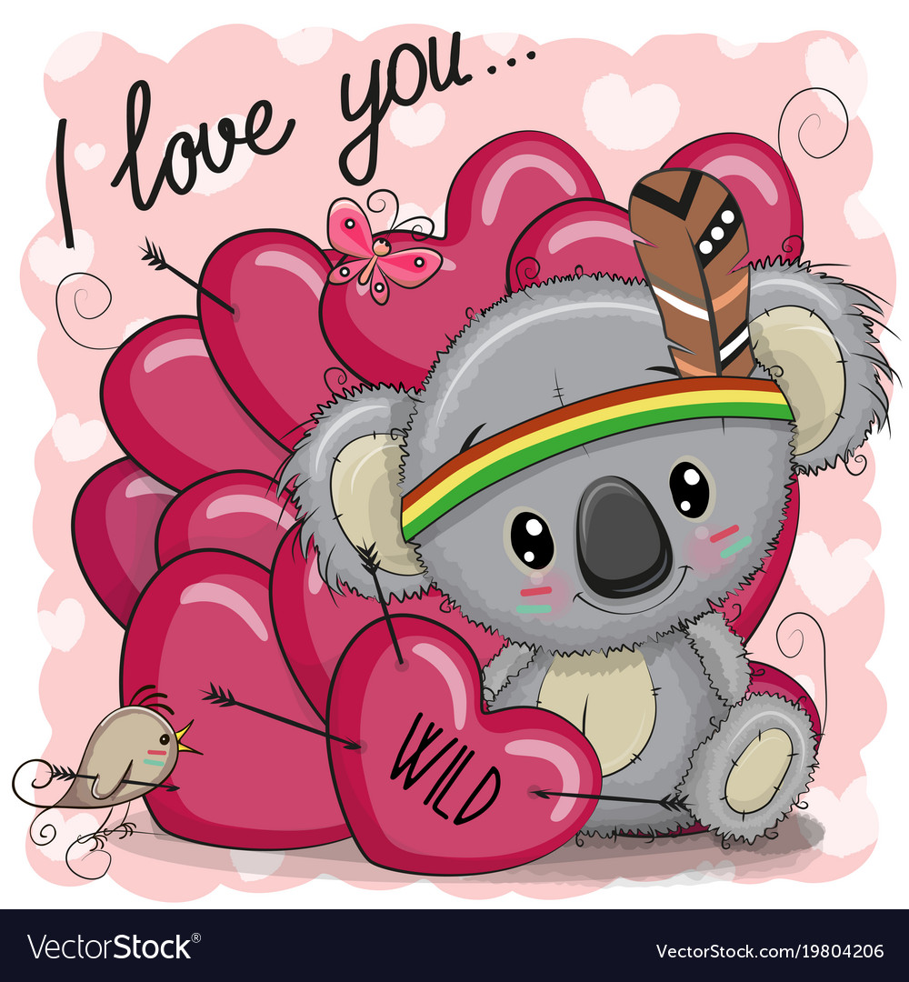 Cute cartoon tribal koala with hearts vector image