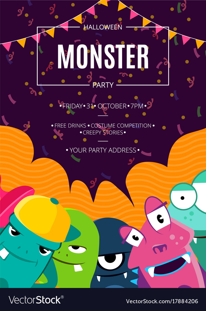 Halloween party invitation poster with