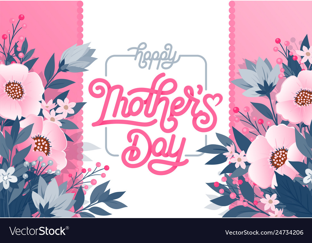 Happy mothers day beautiful greeting card bright