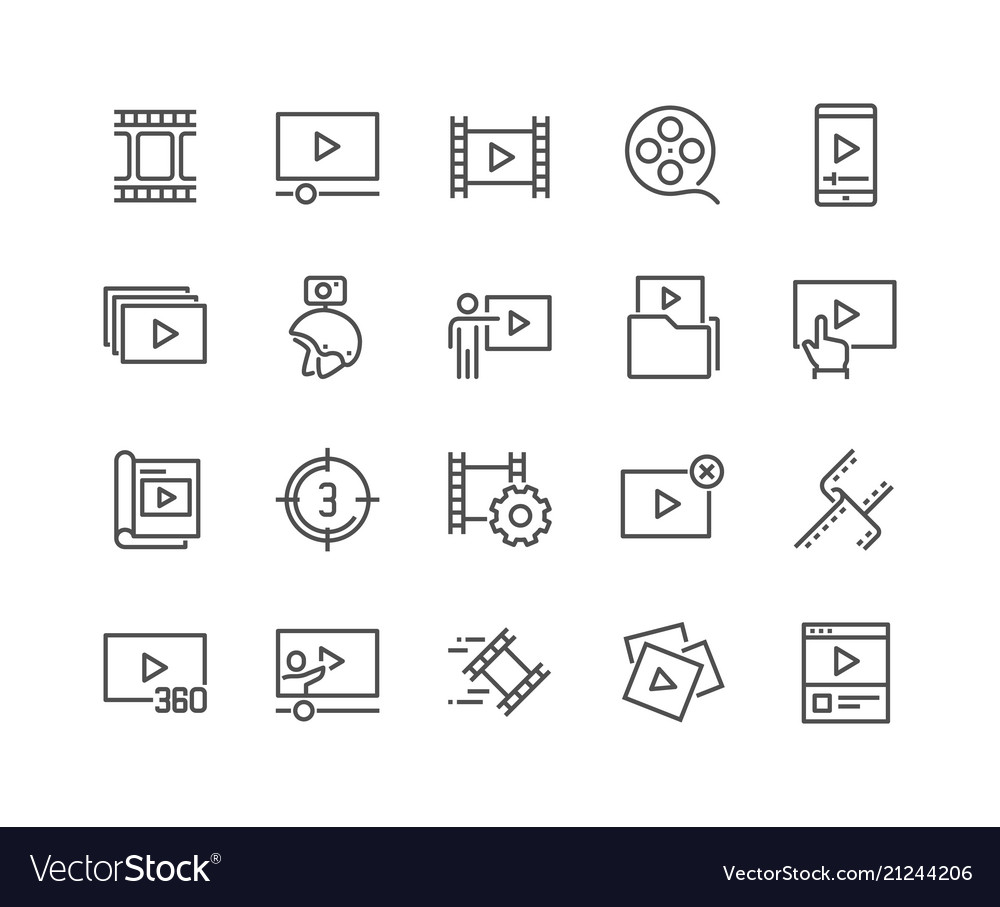 Line video content icons vector