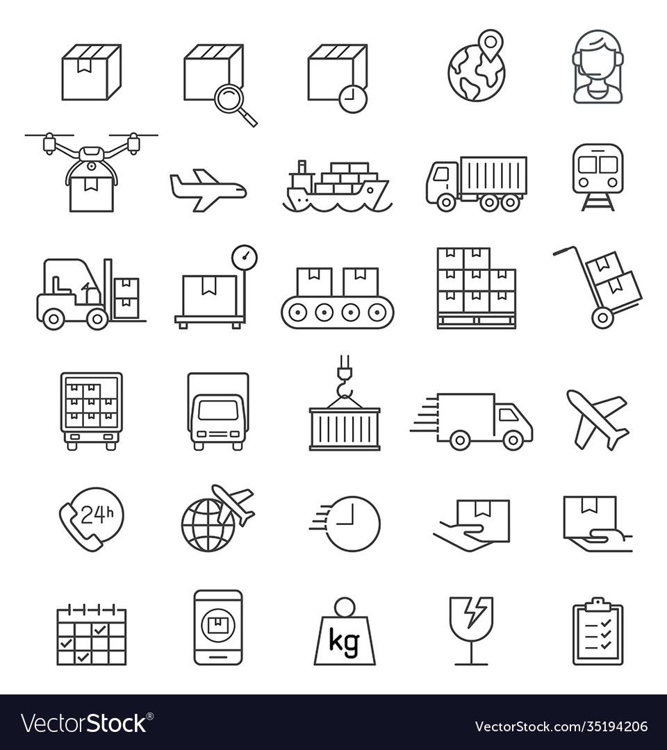 Logistics cargo delivery line icons set