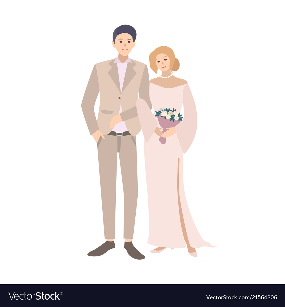 Pair of bride and groom standing together young