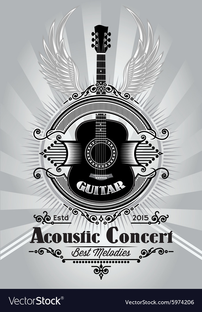 Retro poster with a guitar for the concert