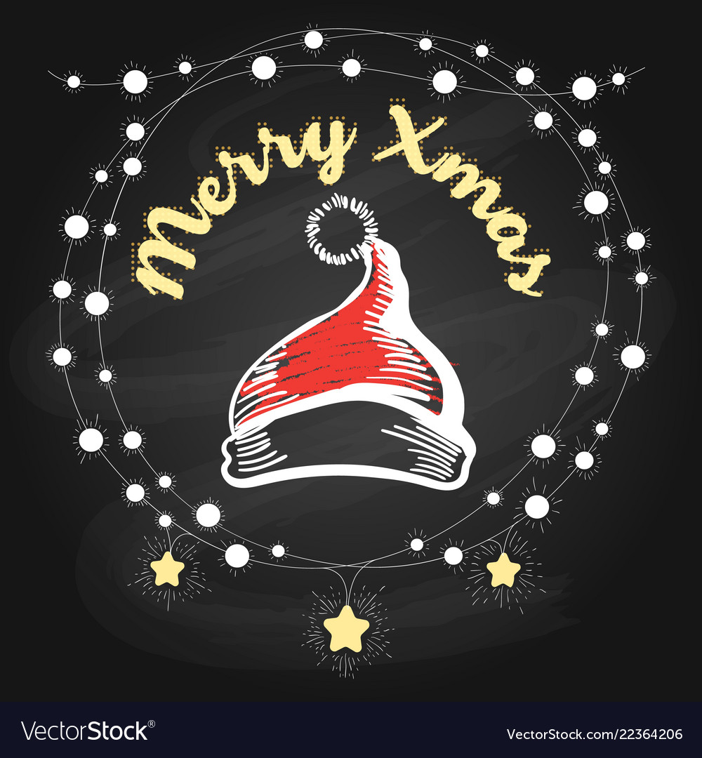Santa claus hat chalkboard poster