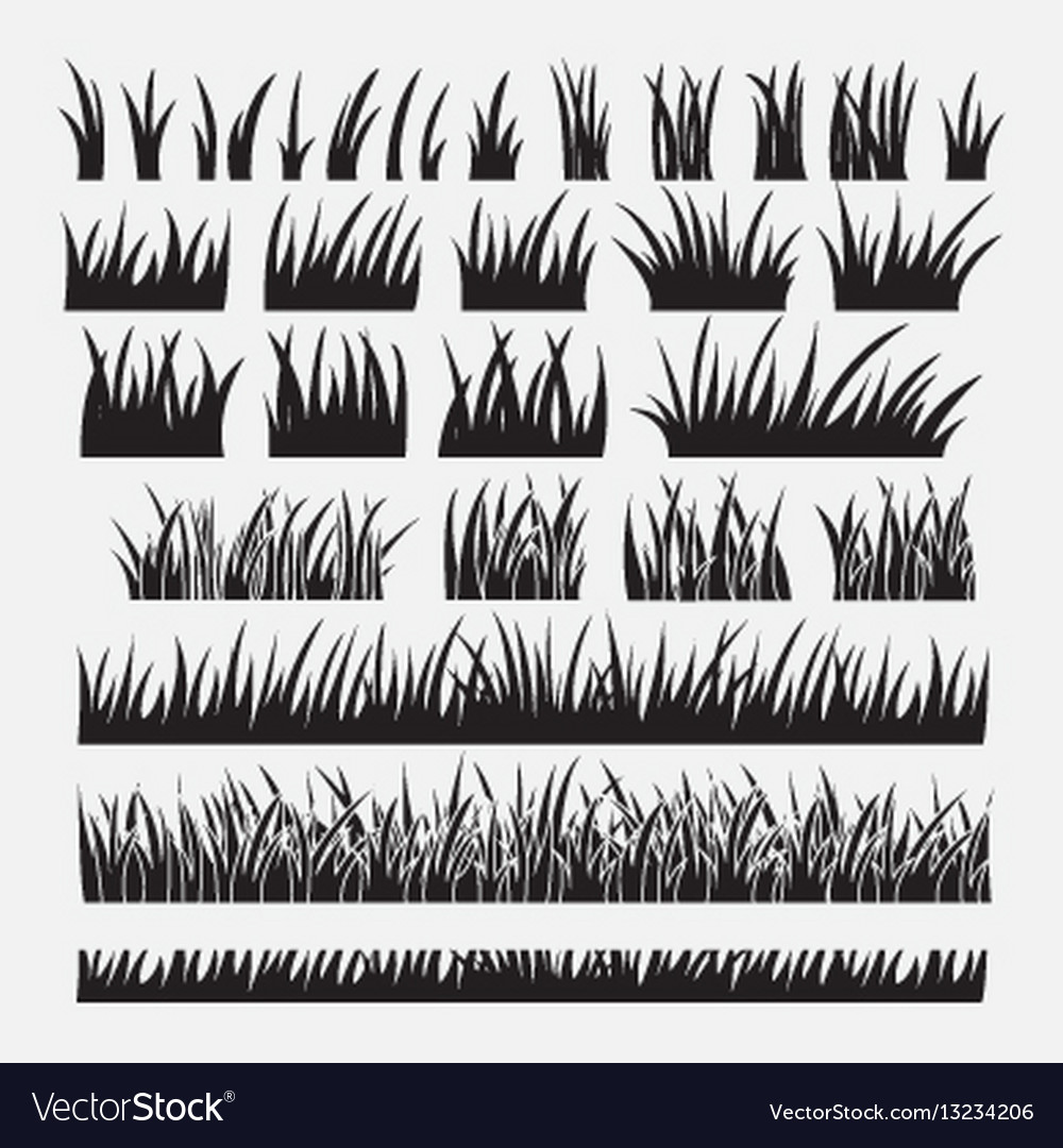 Set of silhouette of grass