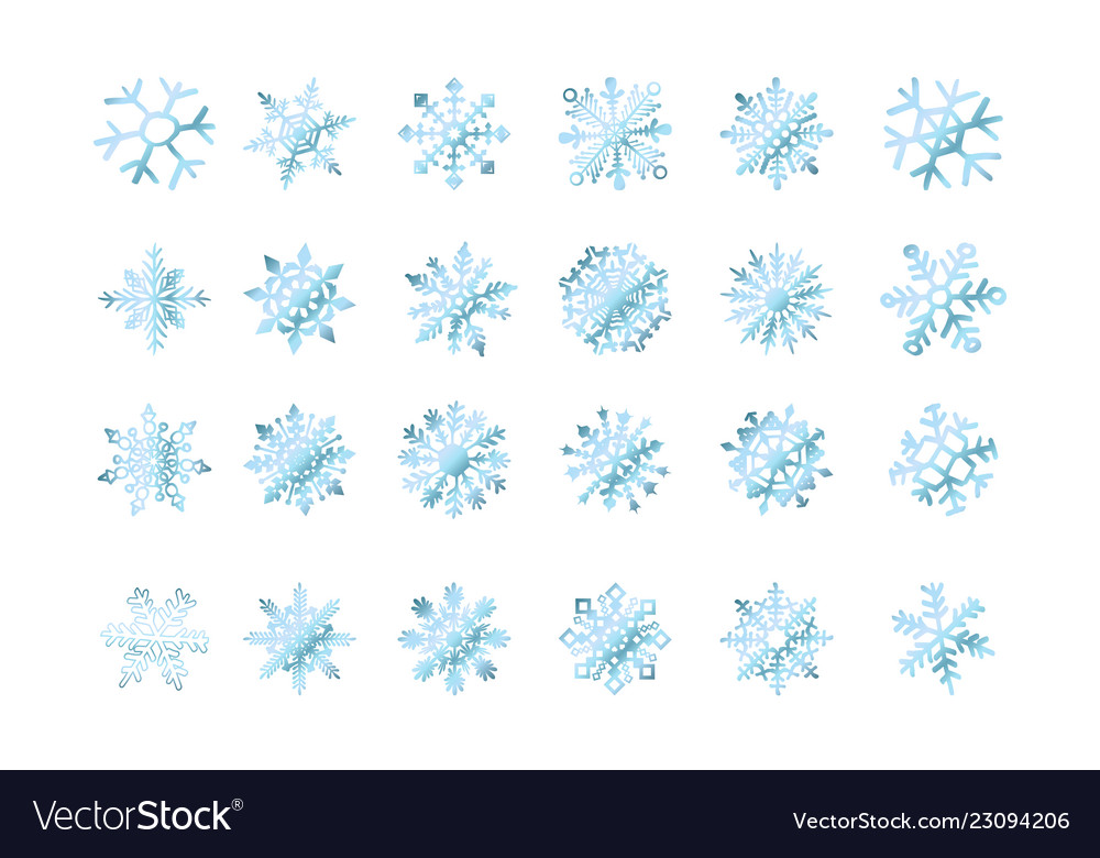 Set of snowflakes blue flake of snow gradient