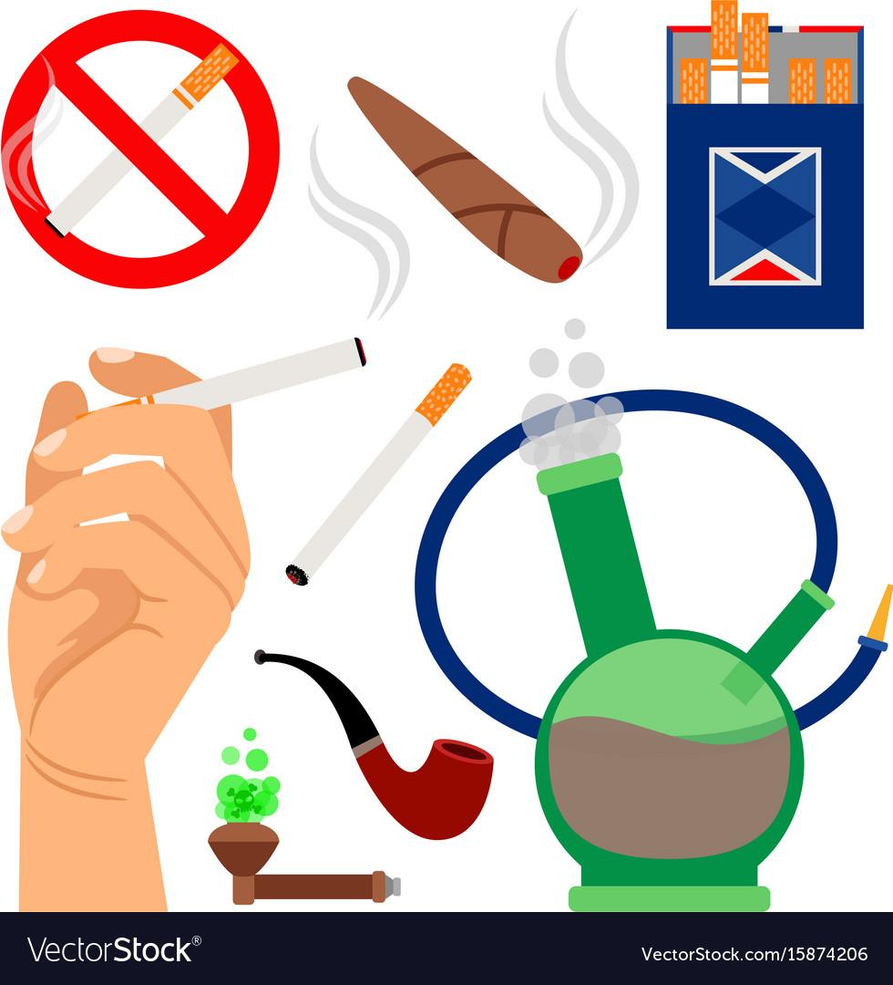 Smoking tobacco icons set