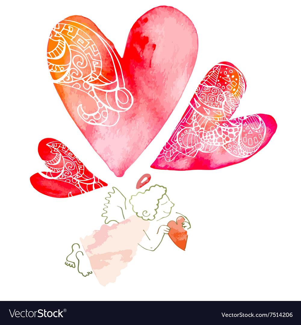 Watercolor heart Valentinine Day Pattern