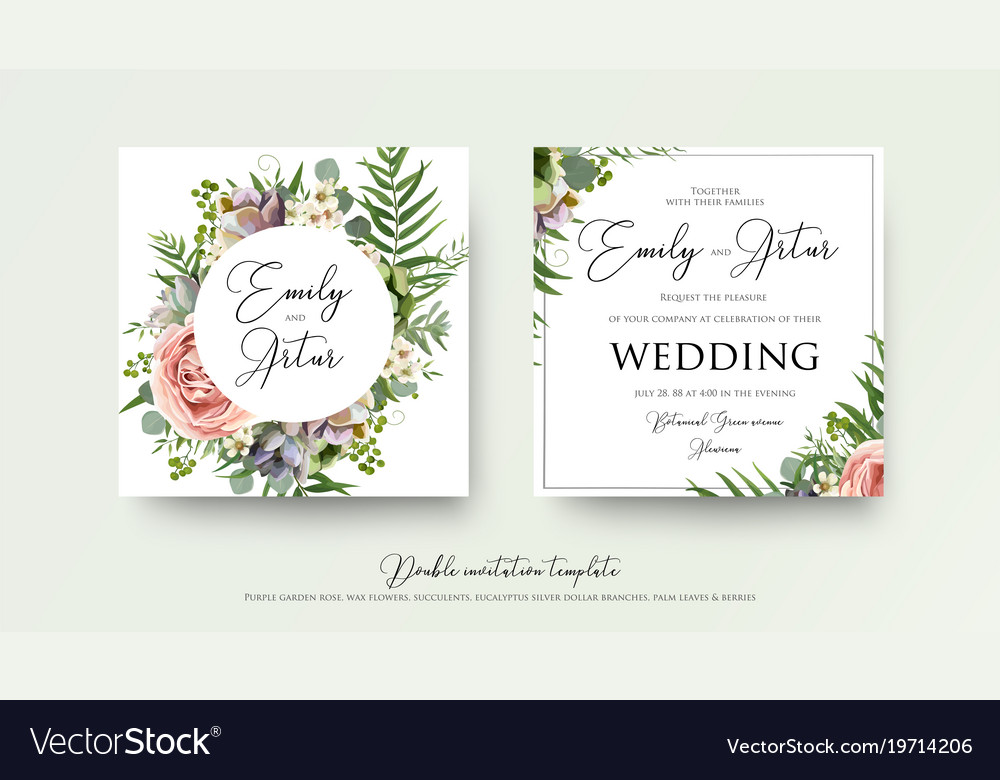 Wedding Art Trendy Floral Invitation Card Design Vector Image