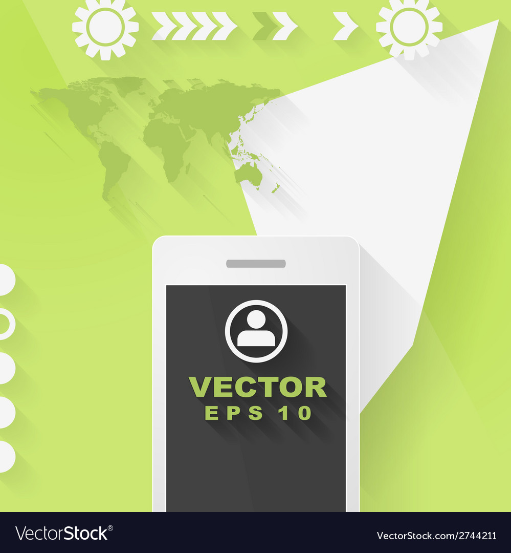 Abstract concept flat tech design with mobile