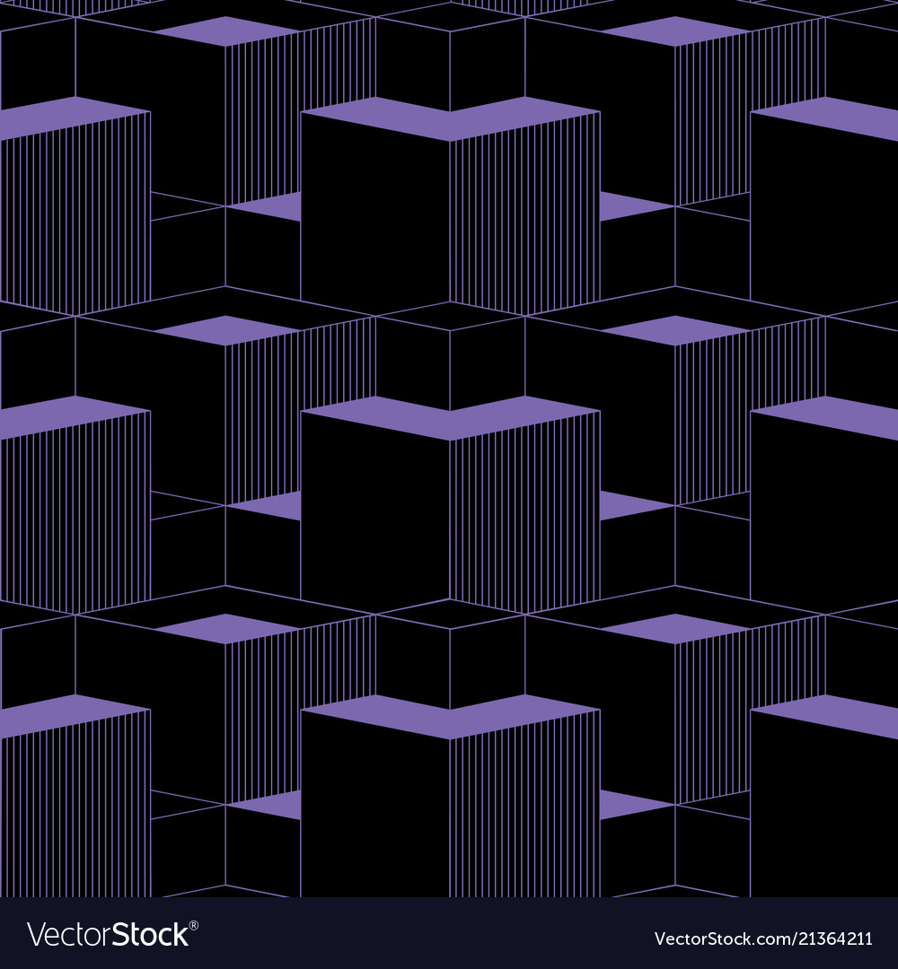 Abstract cubes 3d seamless patternisometric style