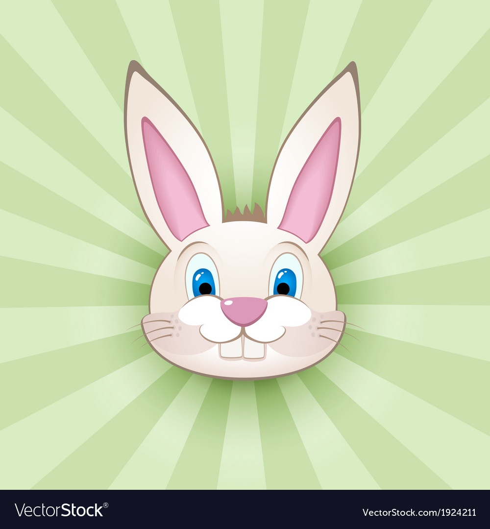 Cartoon bunny head on green vector image