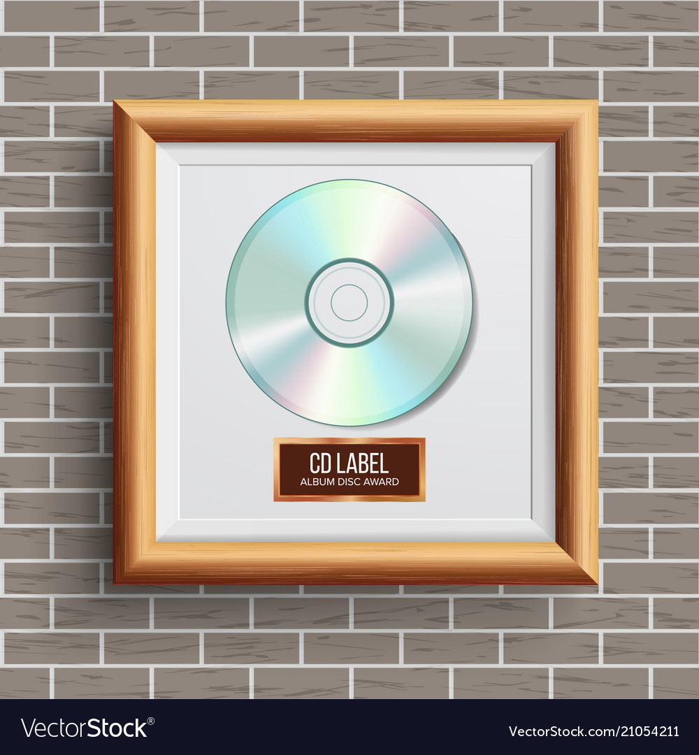 Cd disc award musical trophy realistic