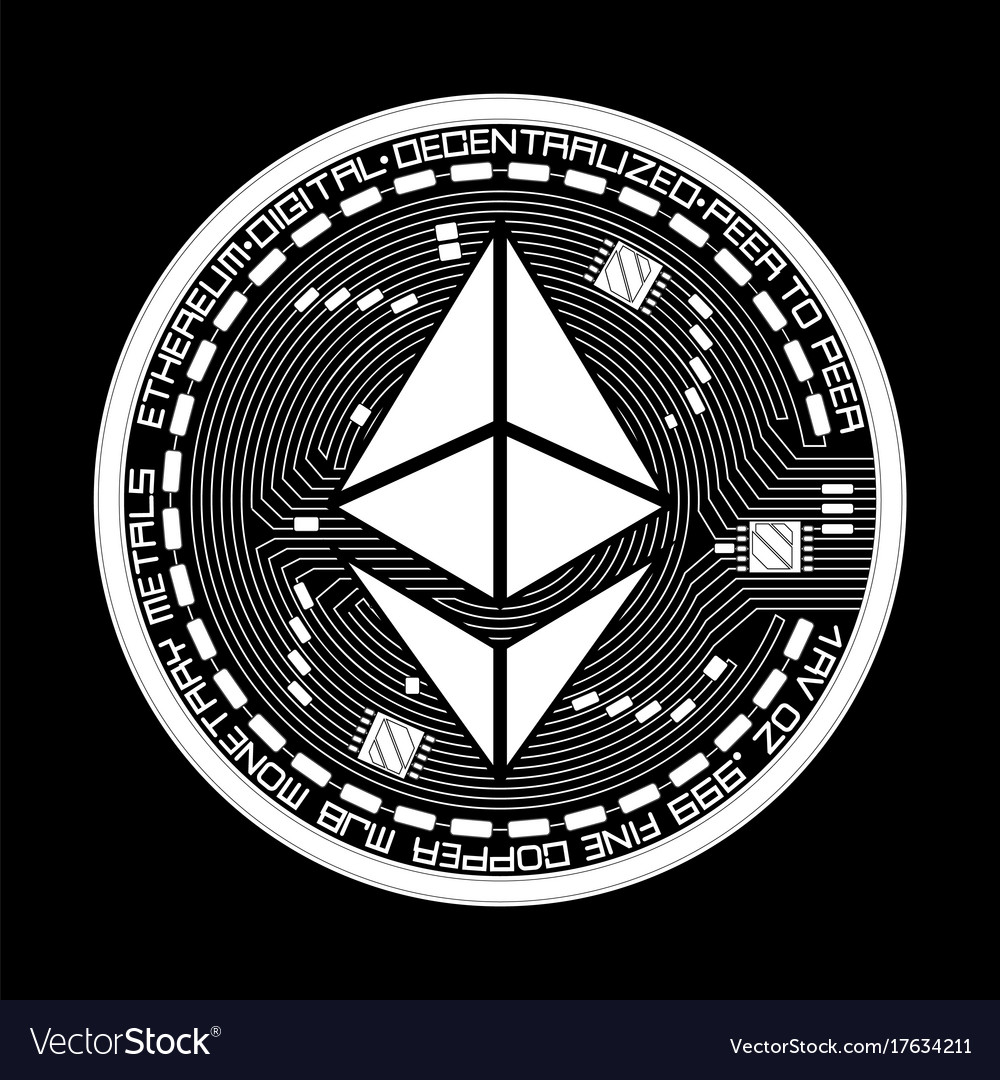 Crypto currency ethereum black and white symbol