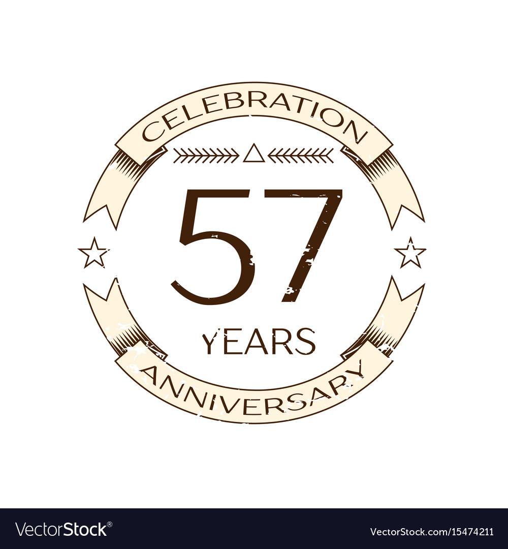 Fifty seven years anniversary celebration logo