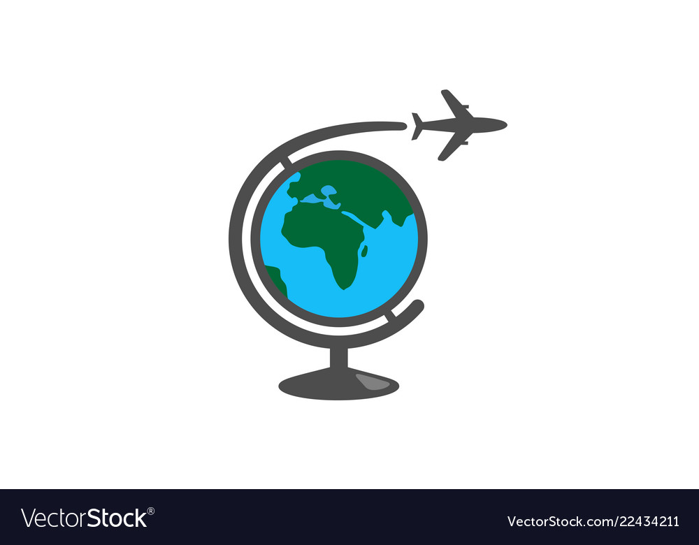 Geography global airplane creative air logo