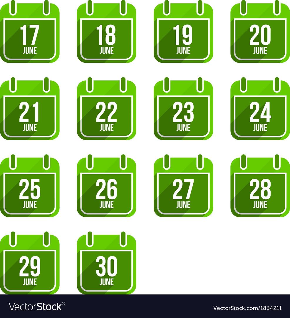 June flat calendar icons Days Of Year Set 18