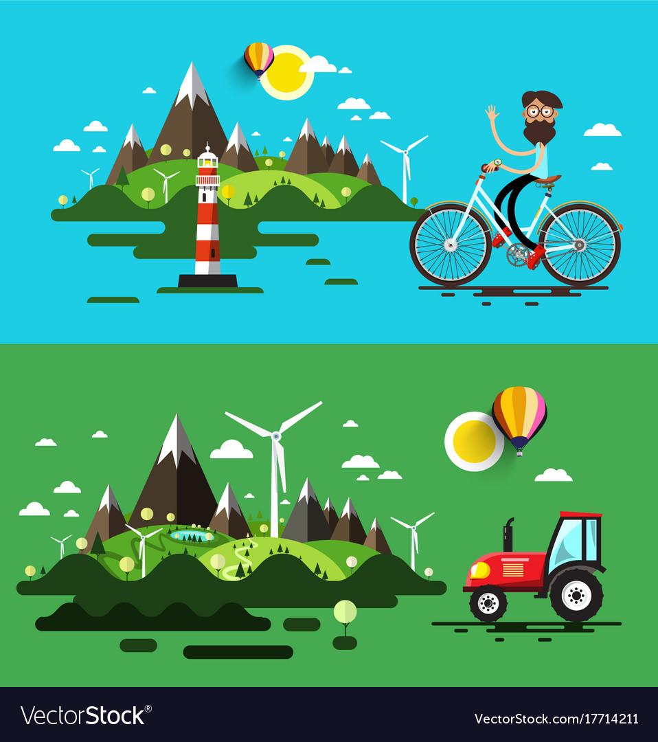 Landscapes flat design set vector image