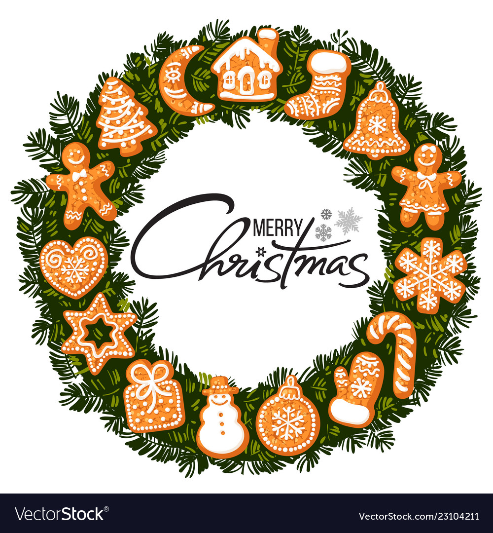 Merry christmas lettering in center wreath
