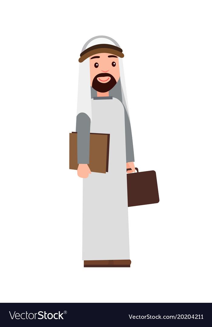 Muslim man holding briefcase