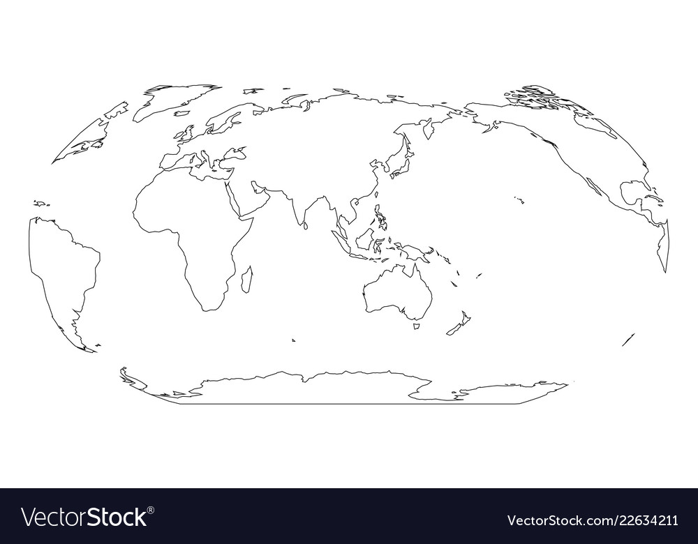 World Map With Australia.Outline Map Of World Asia And Australia Centered