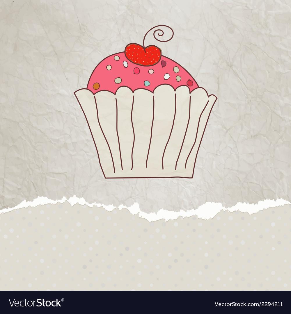 Retro card with cupcake EPS 8