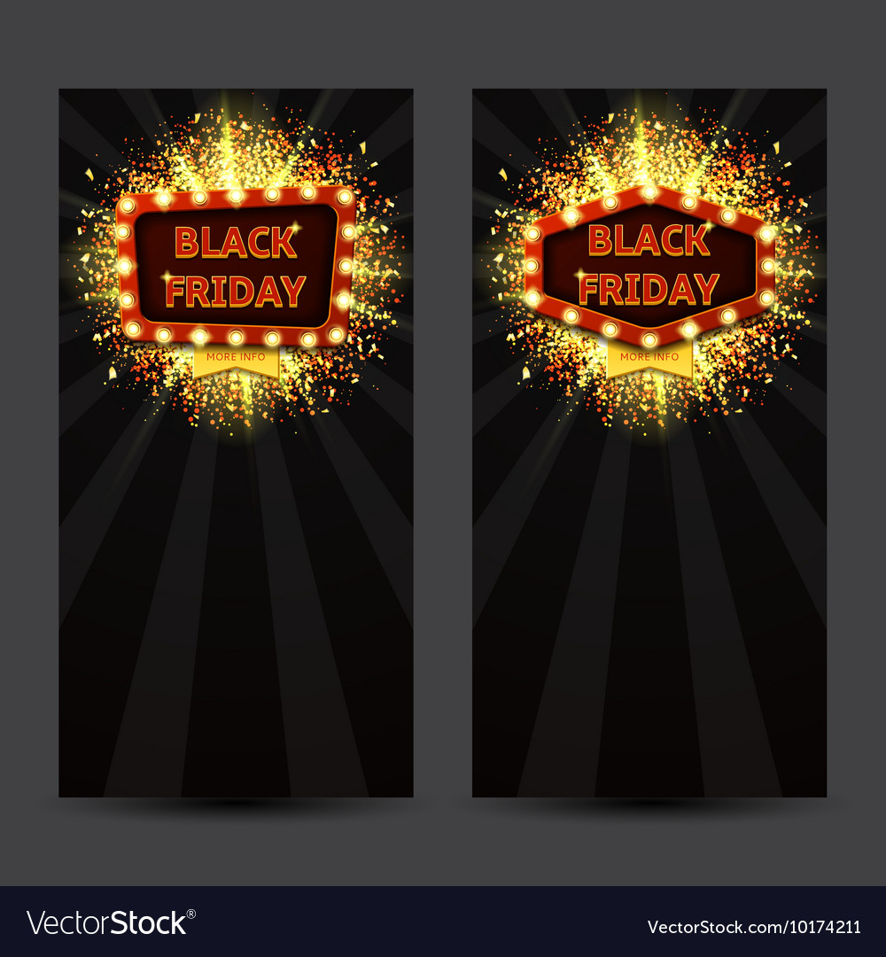 Set of vertical banners with glowing lamps for