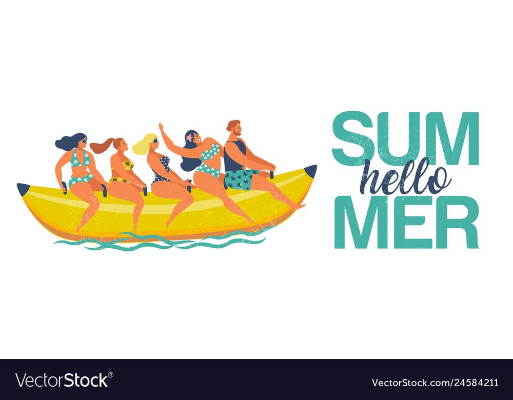 Summer water fun man and women ride on a banana