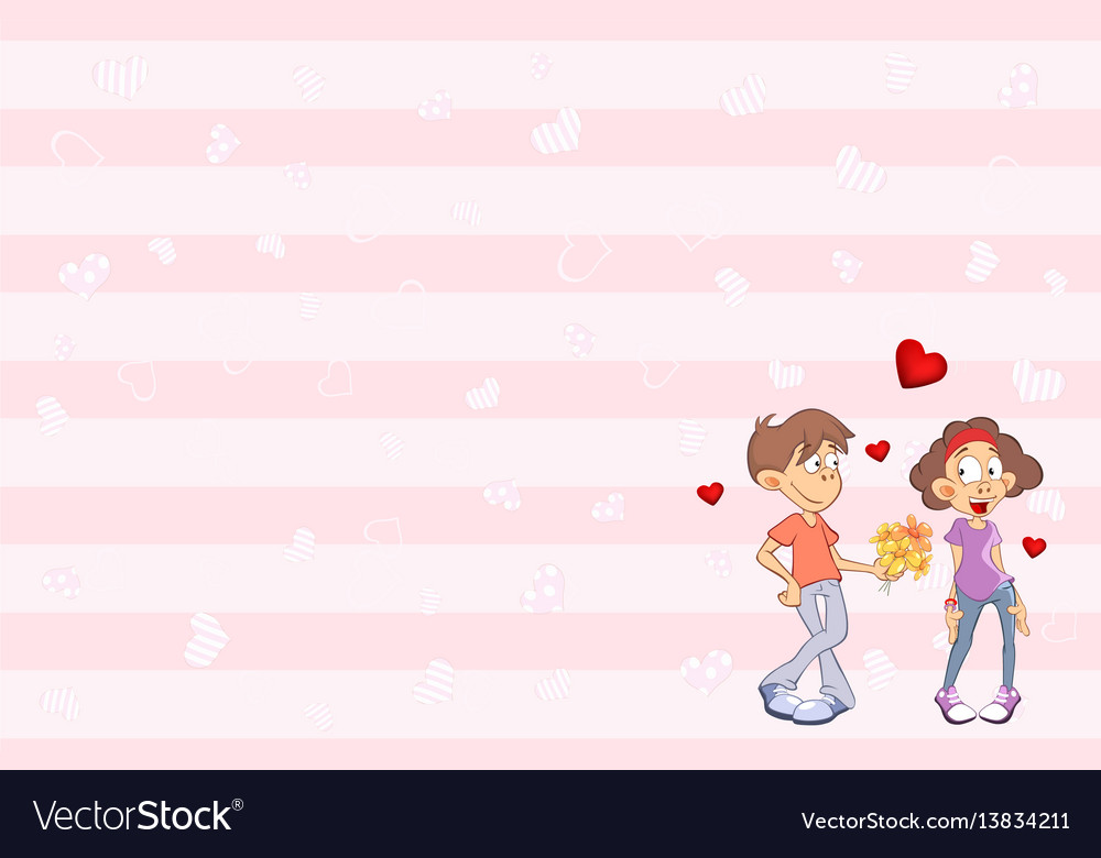 Valentines card with cute guy and girl in love