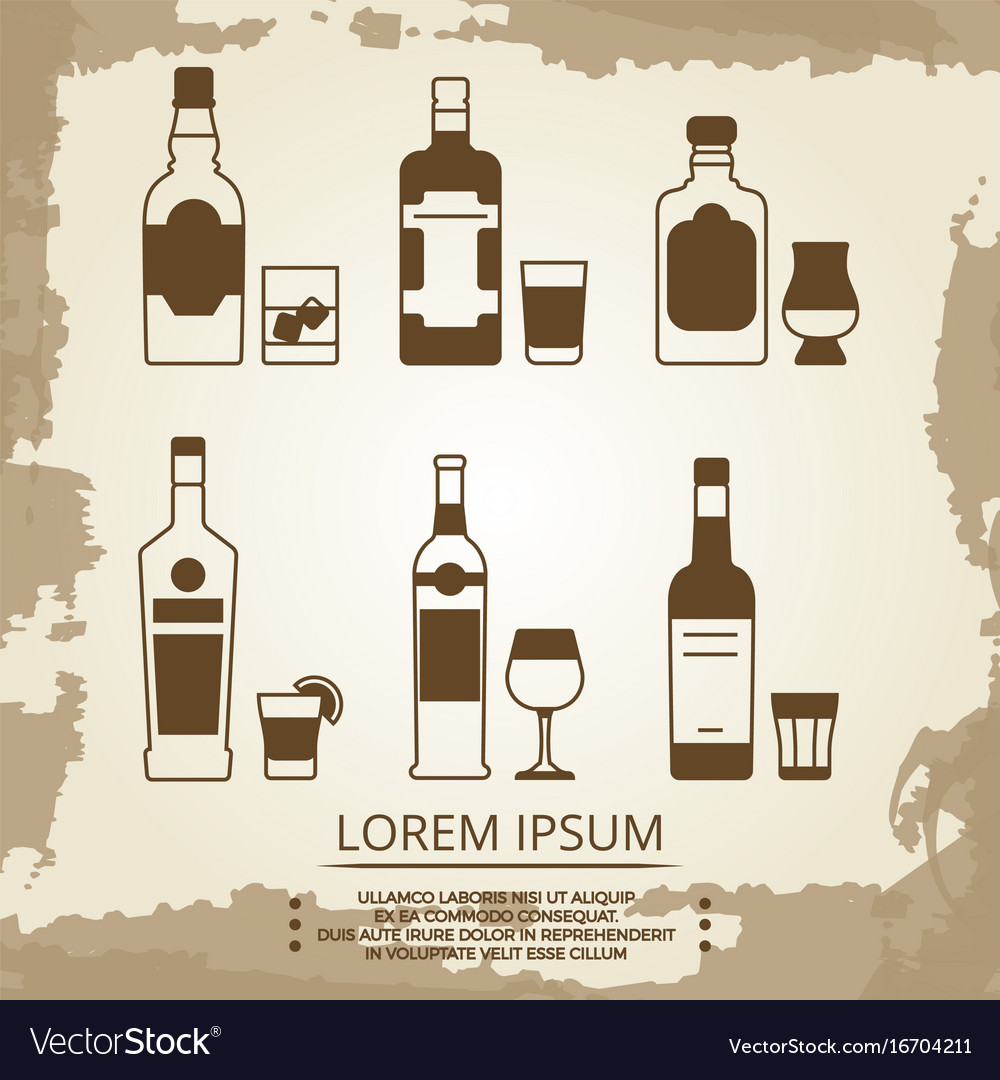 Vintage grunge poster with alcoholic drink icons