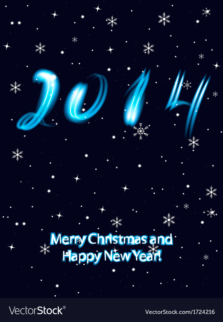 Christmas greeting card with 2014 numbers in neon vector image m4hsunfo