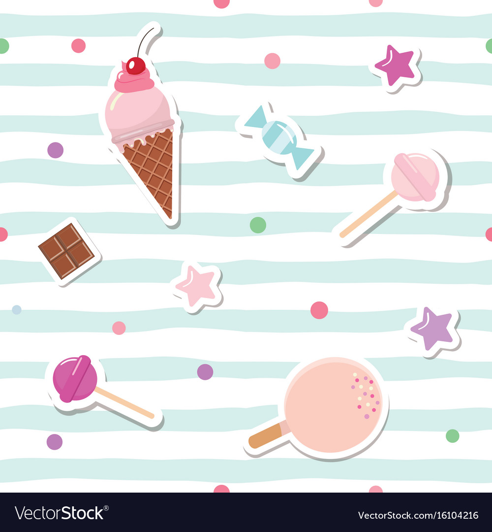 Festive seamless pattern with cute stickers on