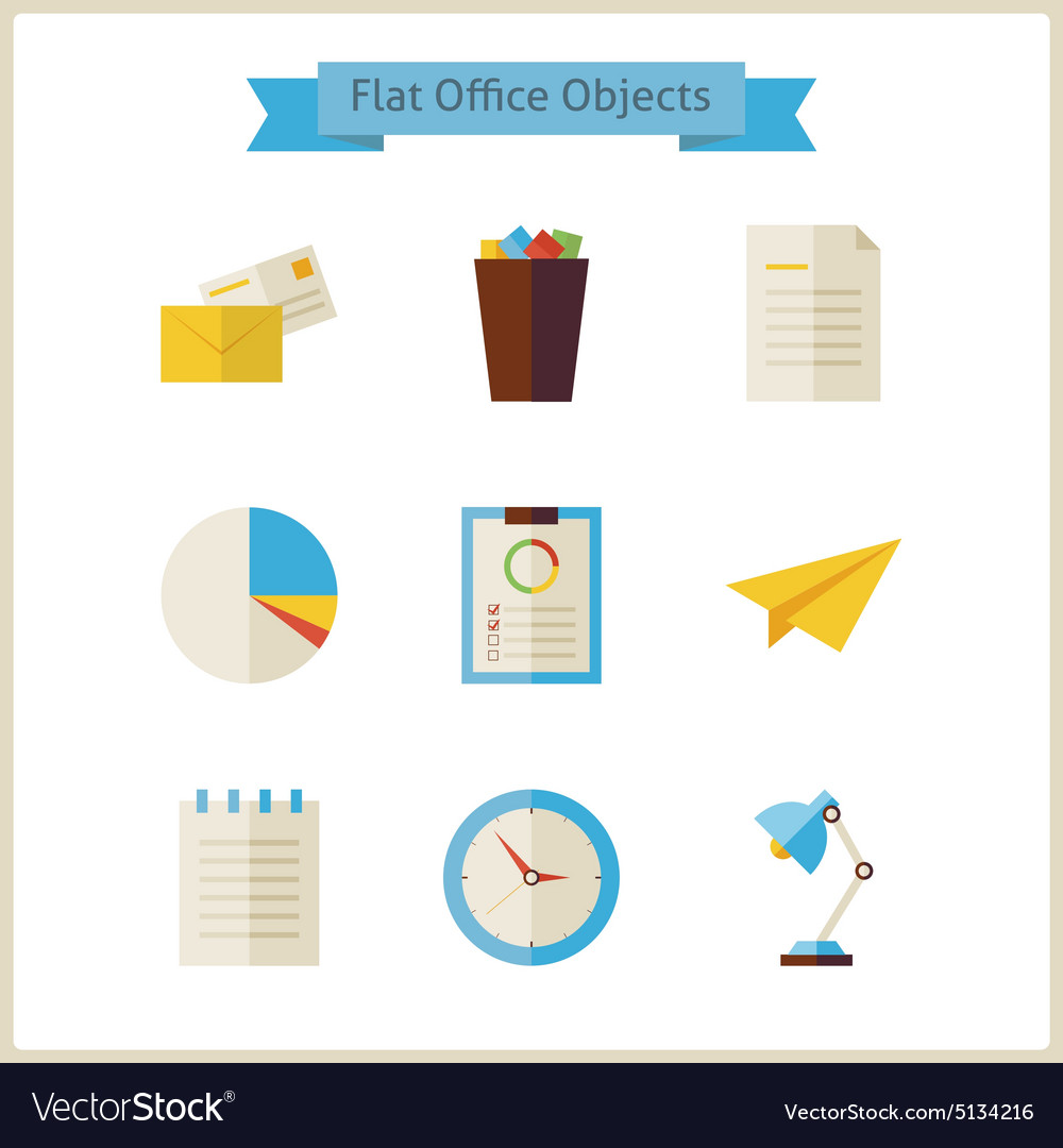 Flat Business and Office Objects Set vector image