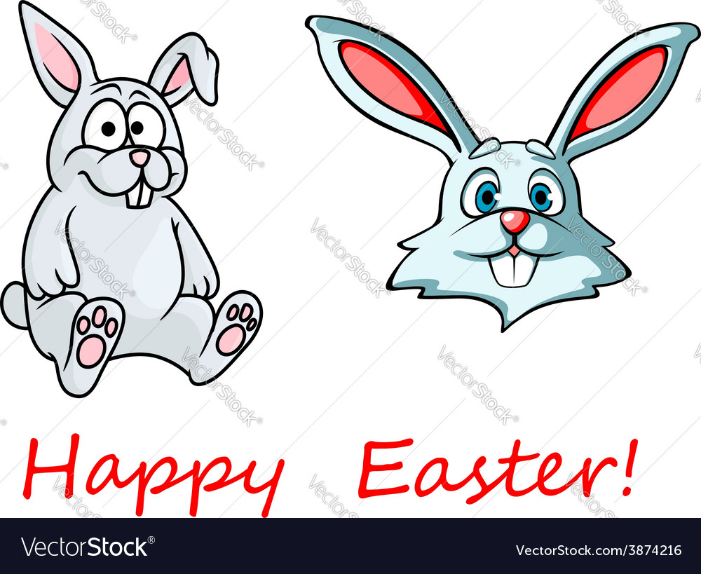 Happy Easter card with easter bunnies