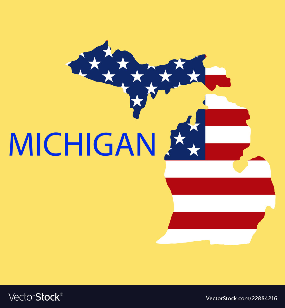Michigan State Of America With Map Flag Print On Vector Image - Us-map-michigan-state