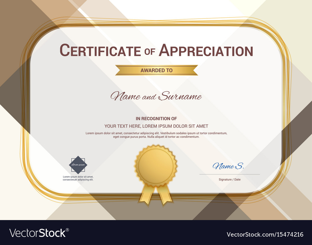 Modern certificate of appreciation template with vector image yadclub Gallery