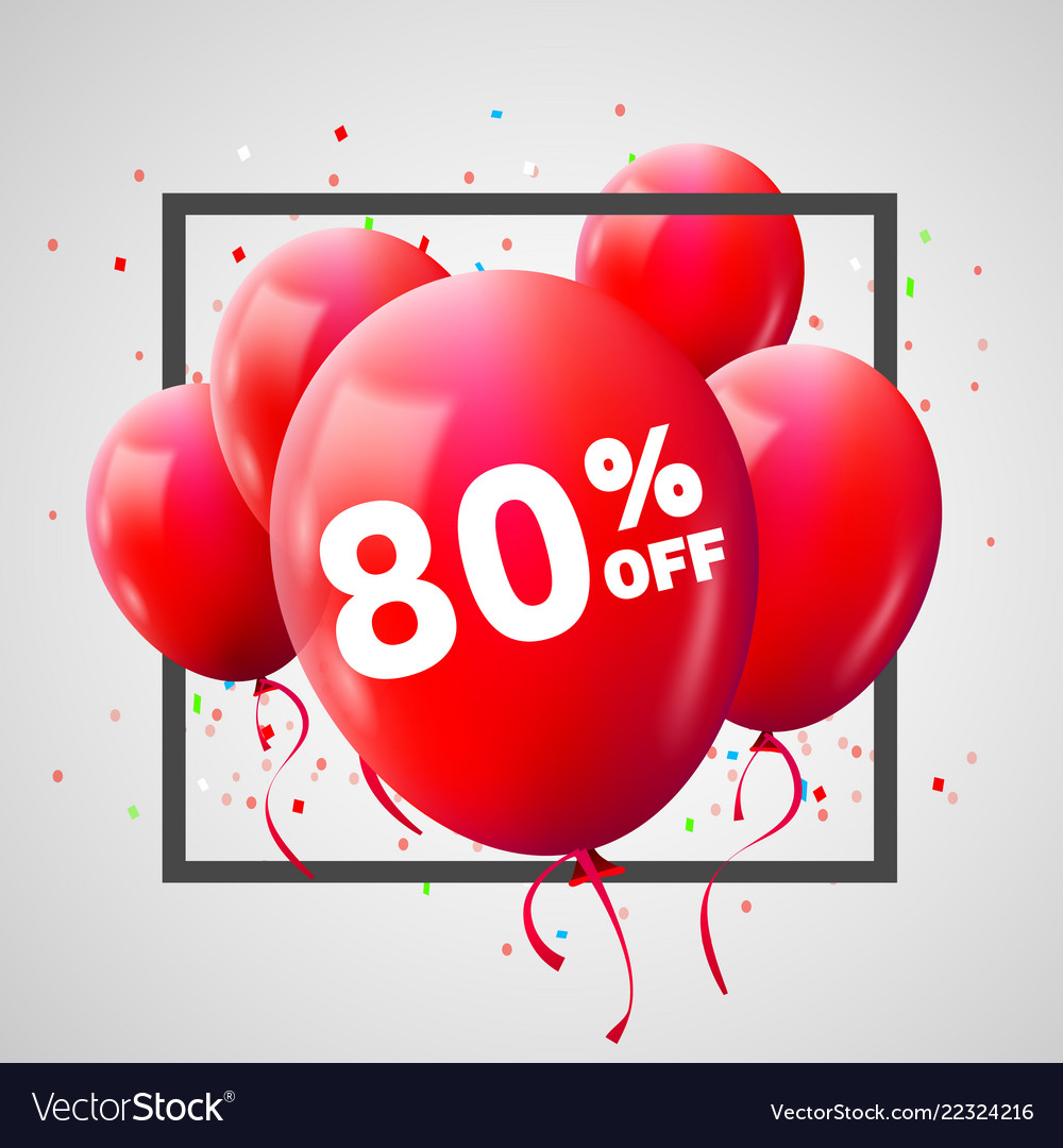 Red balloons discount frame sale concept for shop