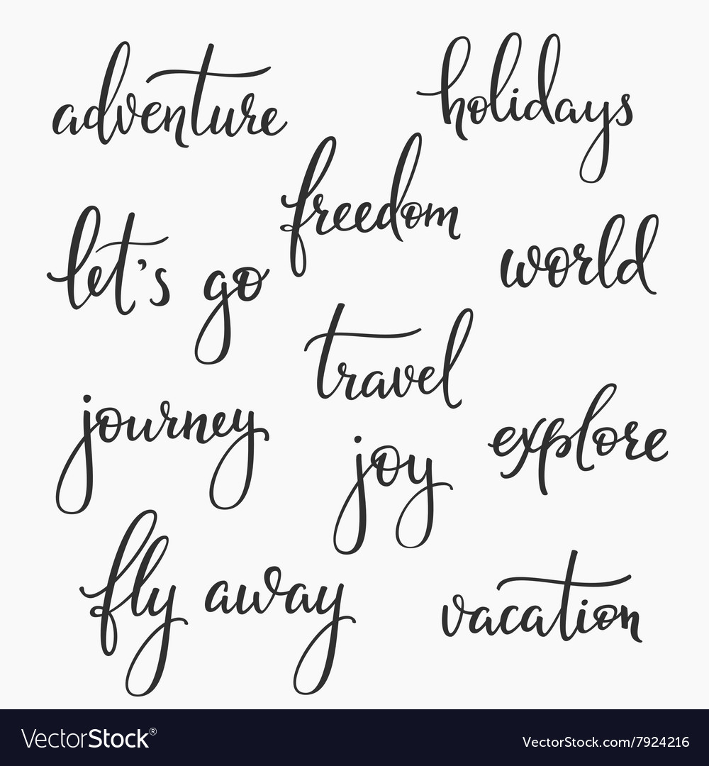 Travel Inspiration Words Lettering Set