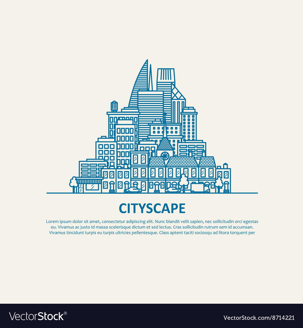 City scape thin flat eps 10